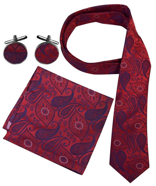 Men's Paisley Boho Style Necktie Cufflinks Pocket Handkerchief Set