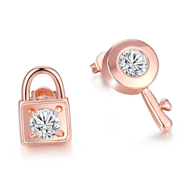 Sapphire Stud Earrings in 18K Rose Gold Plated