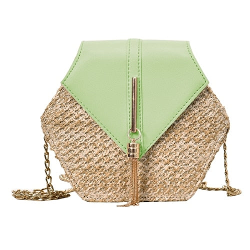 Fashion Hexagon Multi Style Straw+PU  Handbags