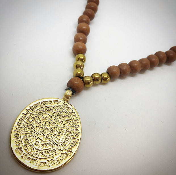 Beaded Mala Necklace - Gold Sacred Coin