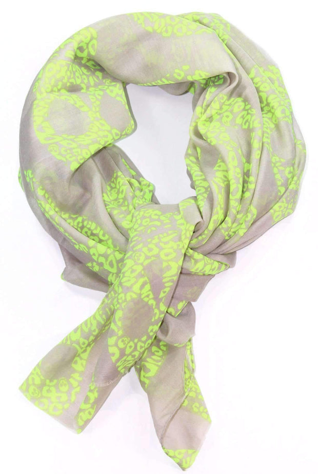 Lime Green Skull Scarf