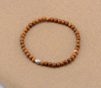 Mens' Bracelet 4 MM Wood Stone with Tibetan Beads