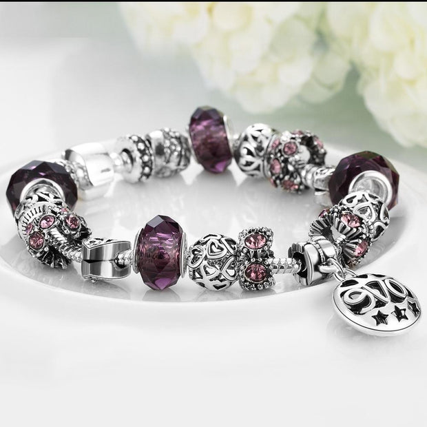 Amethyst Purple Magnetic Clasp Bracelet in 18K White Gold Plated
