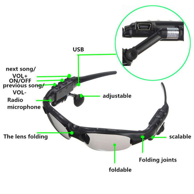 Portable Smart Bluetooth Sunglasses Headset