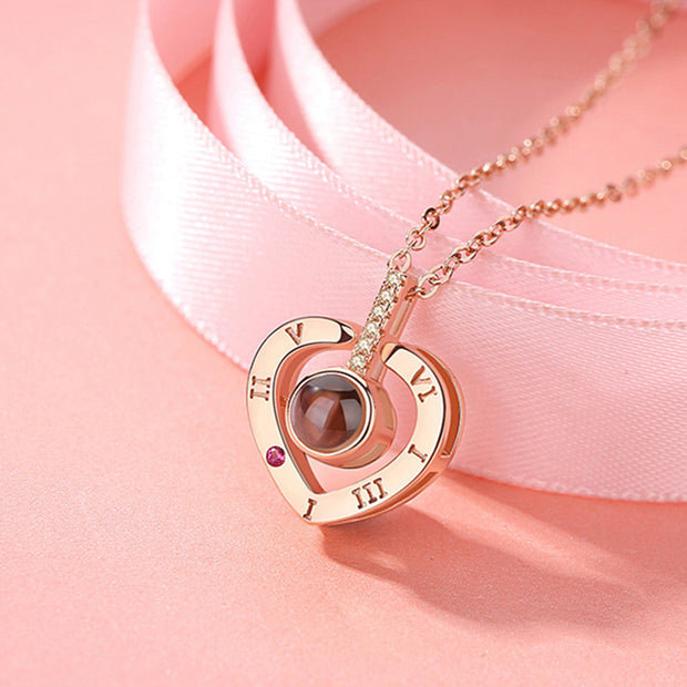 I love you Heart Projection Necklace