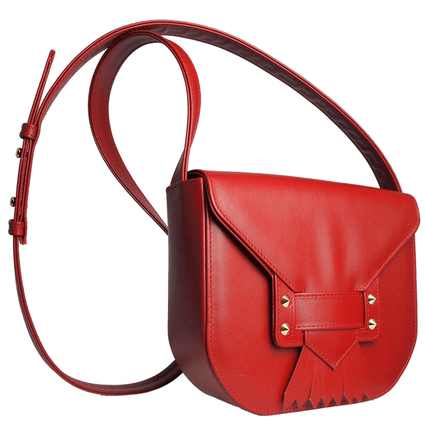 Leather Saddle Bag With Dovetail Fringe Red