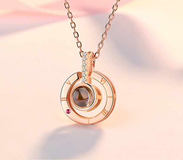 I Love You Round Projection Necklace