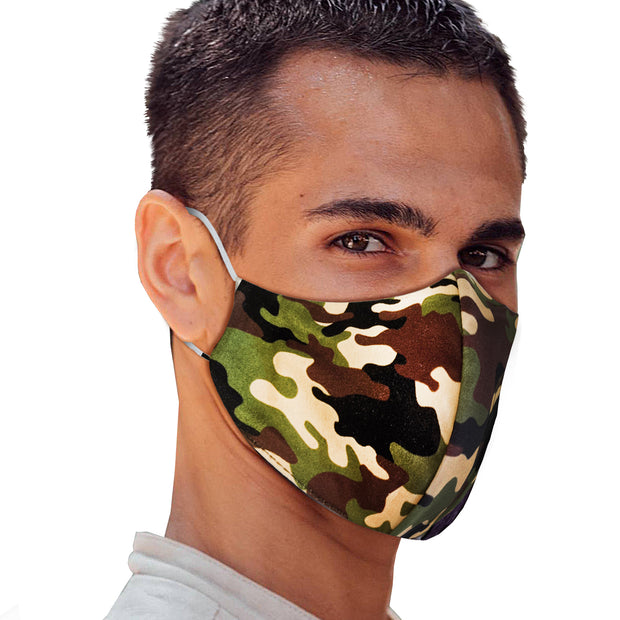 Green Khaki Camo Face Mask