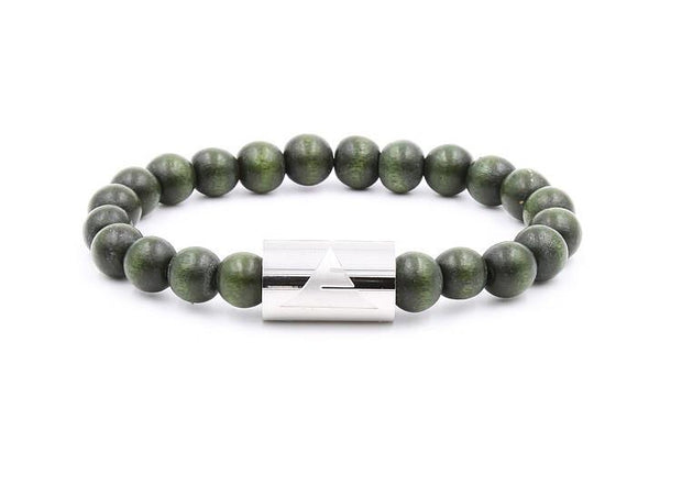 Solid - Forest Green Wood Mens' Bracelet