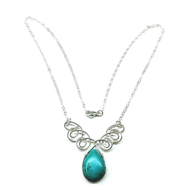 Turquoise Drop Sterling Silver Wire Wrapped Necklace