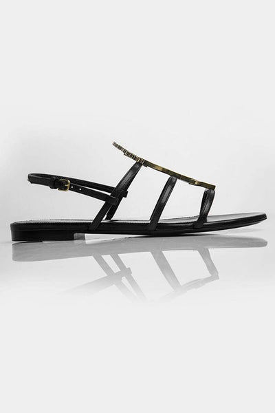 Saint Laurent Leather Flat Sandals Black and Gold