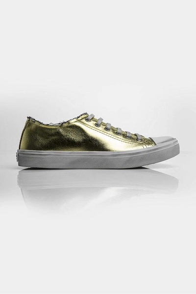 Saint Laurent Golden Sneakers Gold and White