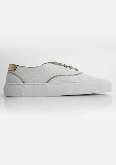 Saint Laurent Two-Tone Sneakers White and Gold