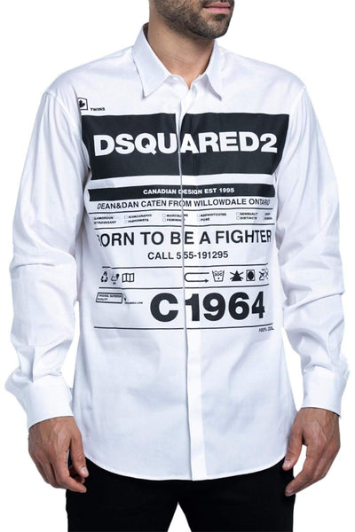 DSQUARED2 Printed Button-Down Shirt Black & White