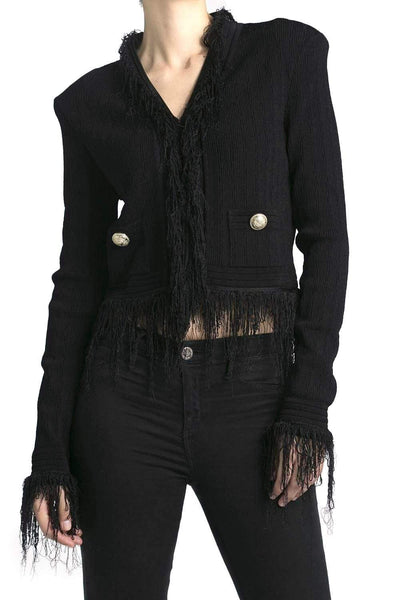 Balmain Fringed Knit Blazer Black