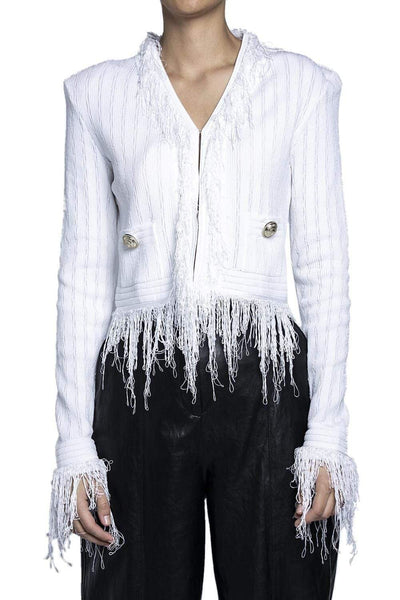 Balmain Fringed Knit Blazer White