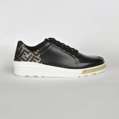 Fendi Leather Golden-Front Sneakers