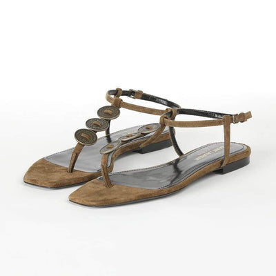 Saint Laurent Suede Thong Sandals