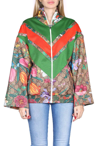 Gucci Printed cotton zipped sweatshirt