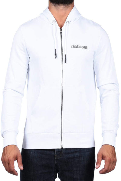 Roberto Cavalli White Men'S Print Zip Sweatshirt