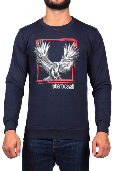Roberto Cavalli Navy Blue Men'S Print Sweatshirt