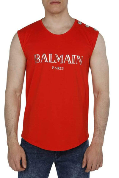 Balmain Printed Cotton Sleeveless Shirt