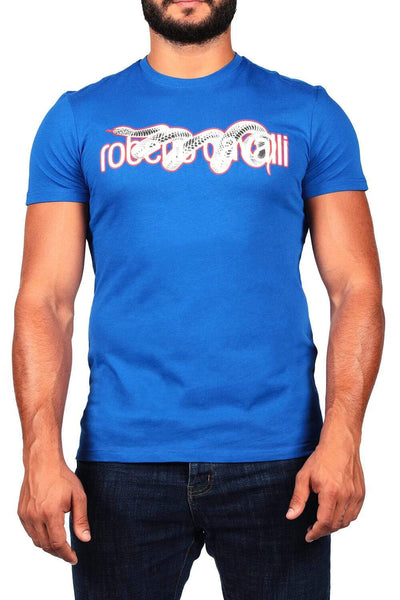 Roberto Cavalli Blue Men'S Print T-Shirt