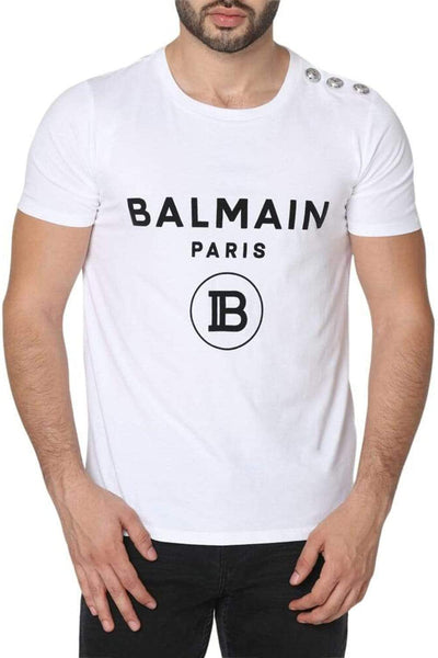 Balmain White Printed Cotton T-Shirt