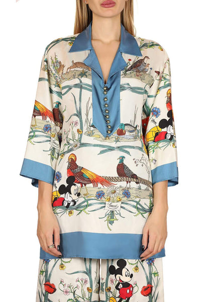 Disney x Gucci printed silk pajama blouse