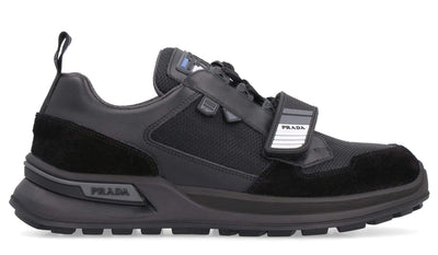 Prada Mixed-Fabric Low-Top Sneakers