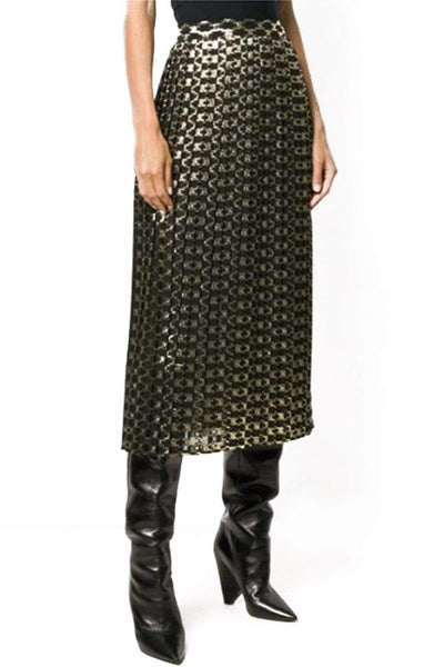 CELINE GOLD PATTERNED MID-LENGTH SKIRT
