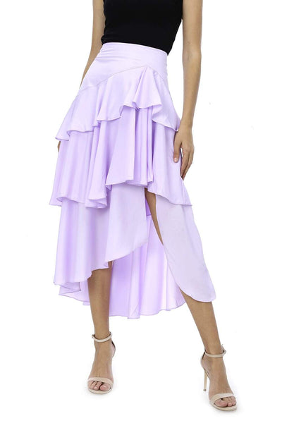 KENDALL + KYLIE HIGH LOW RUFFLE TIERED SKIRT