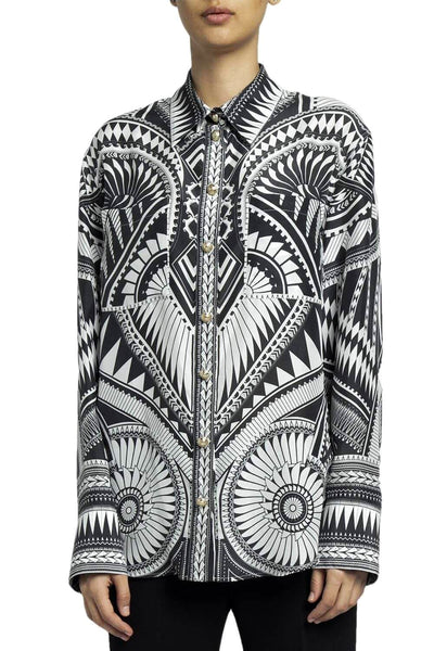 Balmain Geometric Long Sleeve Shirt Black & White