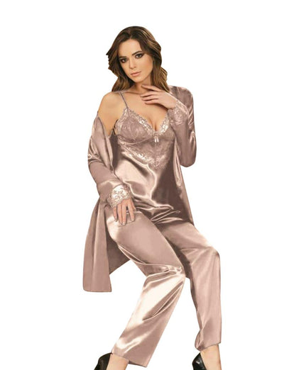 Genuine Satin Pajama Set With Robe