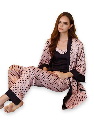 Genuine Black & Pink Pajama Set With Robe