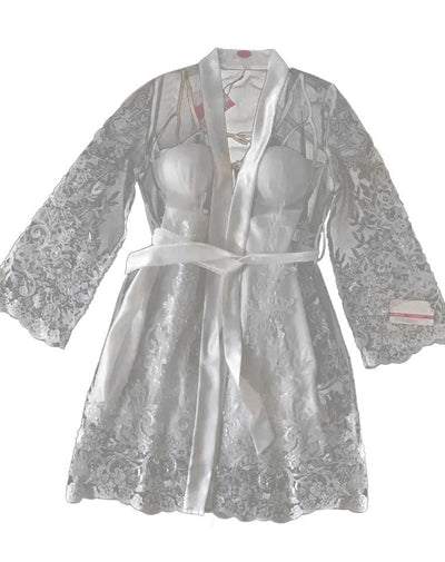 Genuine White Dantelle & Lycra Satin Baby Doll Set