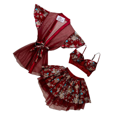 Genuine Red Floral Satin Lycra & Dantelle Cami Set