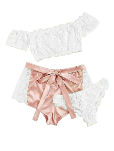 Genuine Pink & White Dantelle & Satin Cami Set