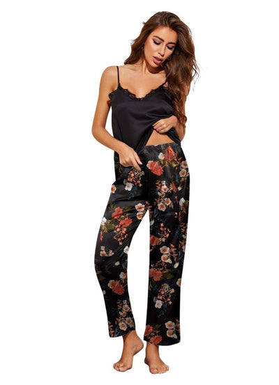 Genuine Floral Black Satin Pajama Set