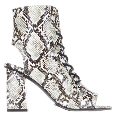 Kendall + Kylie Natural Snake Open Toe Boots