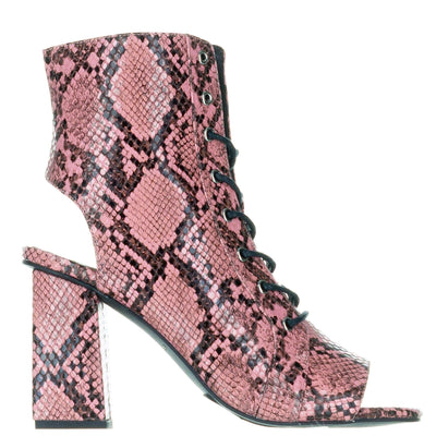 Kendall + Kylie Pink Snake Open Toe Boots