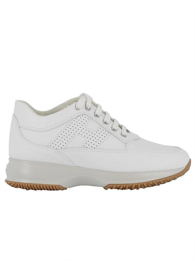 HOGAN WOMEN'S WHITE LEATHER SNEAKERS