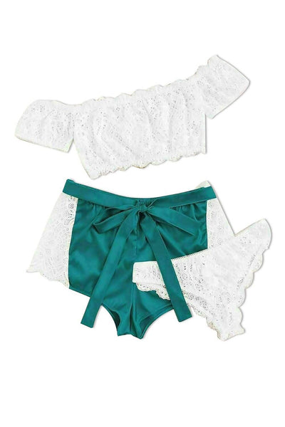 Genuine Green & White Dantelle & Satin Cami Set