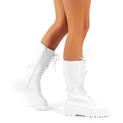 PUBLIC DESIRE KENDALL WHITE PU LACE UP CHUNKY KNEE HIGH BOOTS