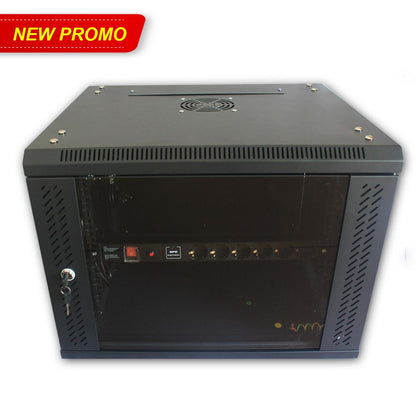 Rack Server 8U Wallmount 8U Tempered Single Glass Door - PDU 6 Hole Anti Petir ( SPD ) dan Anti Overload - Tebal 1,2 mm