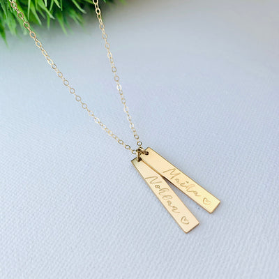 Hanging Double Bar Necklace