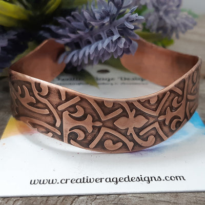 Copper Wavy Cuff with Celtic Knot Designs