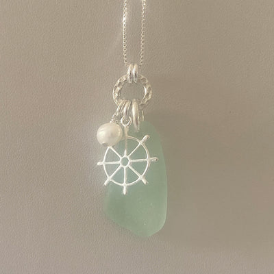 Ships Wheel, Sea Glass and Freshwater Pearl