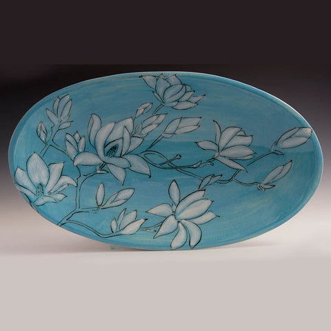 Large Oval Bowl, Blue with Magnolias