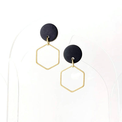Brass and Clay Hexagon Dangles